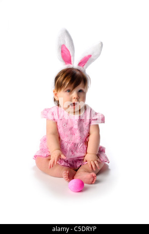 Cute baby on white - Stock Photo