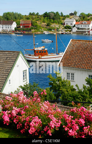 View of boat in the lake with houses and flowers in foreground - Stock Photo