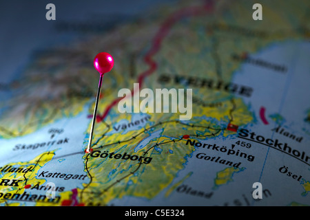Close-up of a pink map pin on Goteborg at a map - Stock Photo