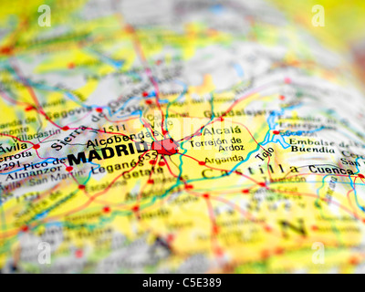 Close-up of a blurred map with focus on Madrid - Stock Photo