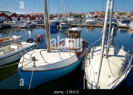 Boats moored in the marina at Hönö - Stock Photo