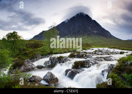 Buachaille Etive Mor and River Coupall, Highland, Scotland, UK. - Stock Photo