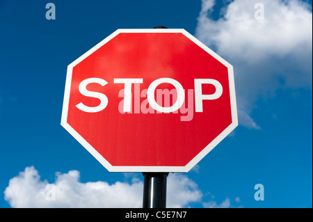 Red stop sign, UK - Stock Photo
