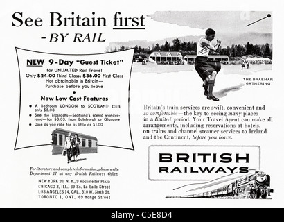 Original 1950s advert in American magazine advertising BRITISH RAILWAYS - Stock Photo