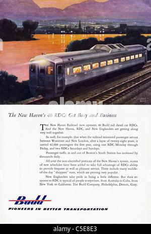 Original 1950s advert in American magazine advertising BUDD railway transportation - Stock Photo