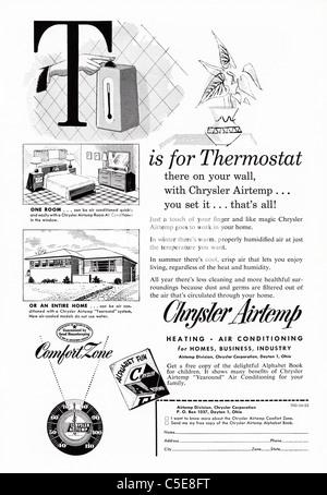 Original 1950s advert in American magazine advertising CHRYSLER AIRTEMP THERMOSTAT - Stock Photo