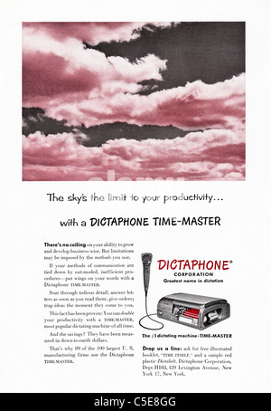 Original 1950s advert in American magazine advertising DICTAPHONE recording machine - Stock Photo