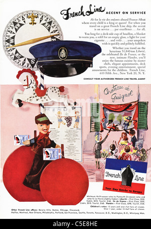 Original 1950s advert in American magazine advertising FRENCH LINE ships - Stock Photo
