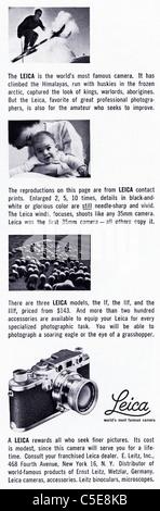 Original 1950s advert in American magazine advertising LEICA film cameras - Stock Photo
