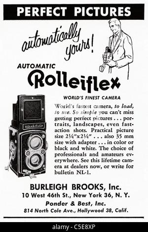 Original 1950s advert in American magazine advertising ROLLEIFLEX medium format film cameras - Stock Photo