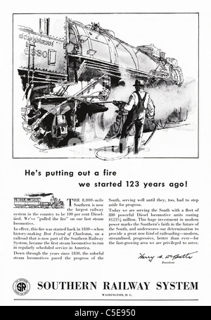 Original 1950s advert in American magazine advertising SOUTHERN RAILWAY SYSTEM - Stock Photo
