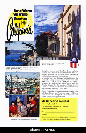 Original 1950s advert in American magazine advertising tourism in CALIFORNIA by UNION PACIFIC RAILROAD - Stock Photo