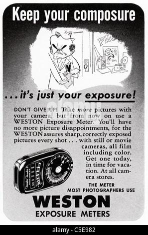 Original 1950s advert in American magazine advertising WESTON EXPOSURE METERS - Stock Photo