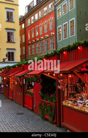 Row of Christmas market on the cobblestone street in the old town at Stockholm, Sweden - Stock Photo