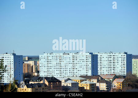 High rise buildings against clear sky with apartments in foreground at Haga, Gothenburg, Sweden - Stock Photo