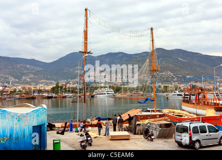 Shiprepair and Overhaul in the Harbour of Alanya, Turkey - Stock Photo