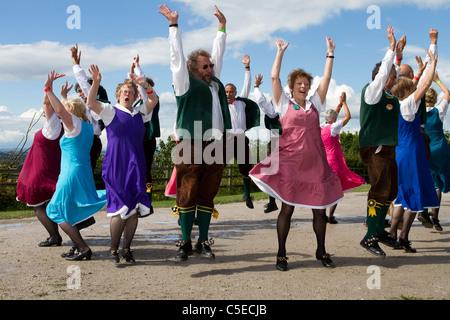 Shrewsbury Lasses Woman Morris Dancers, Morris Dancers, detail and people, clothing, dancing, celebration, event, - Stock Photo