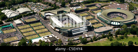Aerial view of the All England Lawn Tennis Club during play at the 2011 Wimbledon Tennis Championships - Stock Photo