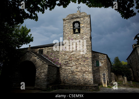 Santa Maria la Real church in O Cebreiro, a small village located in the French Way of St. James Way, Galicia, Spain - Stock Photo