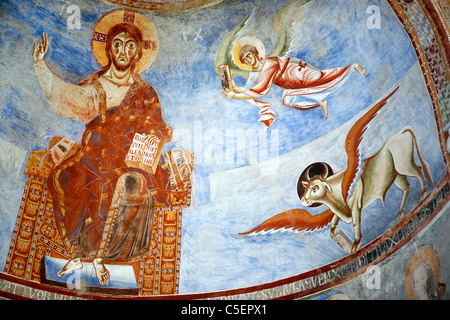 Mural painting in basilica Sant'Angelo in Formis (9th century), Campania, Italy - Stock Photo
