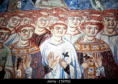 Mural painting in basilica Sant'Angelo in Formis (9th century), Caserta, Campania, Italy - Stock Photo