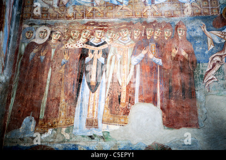 Mural painting in basilica Sant' Angelo in Formis (9th century), Caserta, Campania, Italy - Stock Photo