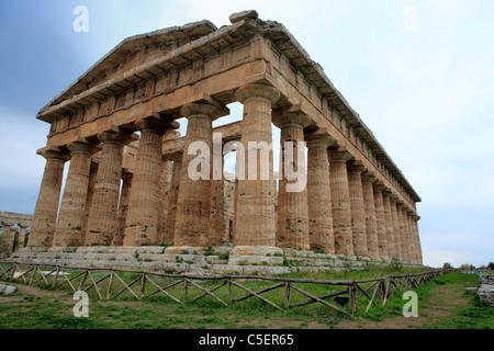 Neptune Greek temple (с. 450 BС), Paestum, Salerno, Campania, Italy - Stock Photo