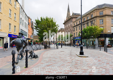 City Square with a statue of Desperate Dan and Dawg (from the Dandy Comic) to the left, Dundee, Central Lowlands, - Stock Photo