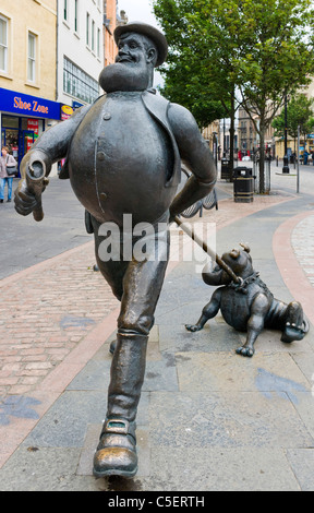 Statue of Desperate Dan and Dawg (from the Dandy Comic) in City Square, Dundee, Central Lowlands, Scotland, UK - Stock Photo