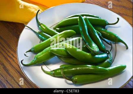 Very hot chili called for in many recipes. Suitable for salsas and sauce recipes as well as eating fresh. - Stock Photo