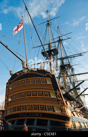 Nelson's famous flagship, HMS Victory in Portsmouth - Stock Photo