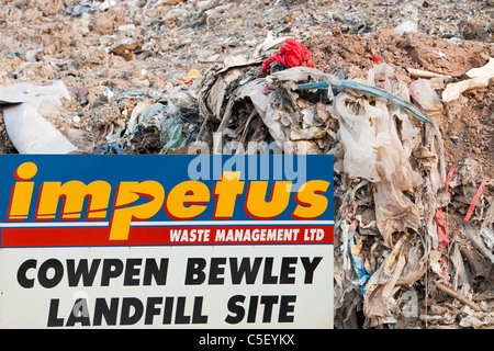 Plastic rubbish in a landfill site on Teeside, UK. It is increasingly expensive to landfill rubbish - Stock Photo