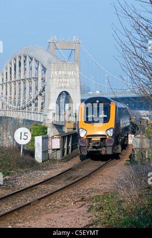England Devon Plymouth Royal Albert Railway Bridge with express train - Stock Photo