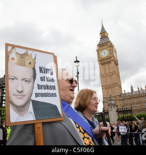 Thousands of disabled people marched through London on the Hardest Hit March to protest against governmental budget - Stock Photo