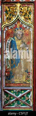 Thornham, Norfolk, Rood Screen, Prophet Amos screens painting paintings painted panel panels prophets England UK - Stock Photo