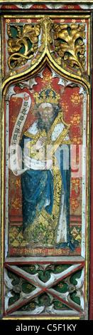 Thornham, Norfolk, Rood Screen, Prophet David screens painting paintings painted panel panels prophets England UK - Stock Photo