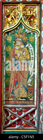 Thornham, Norfolk, Rood Screen, Prophet Hosea, 15th century rood screen, painted Old Testament Prophets - Stock Photo