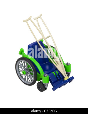 Wheelchair and crutches used for assistance in personal transportation when ambulatory methods are unavailable  - Stock Photo
