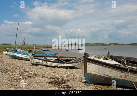 Boats on beach at Sunderland Point, near Lancaster, Lancashire, England UK - Stock Photo