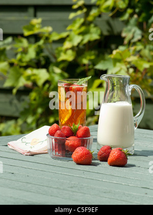 PIMMS AND STRAWBERRIES AND CREAM IN SUMMER GARDEN UK - Stock Photo