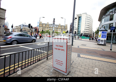 Junction boxes in Leeds, West Yorkshire, become works of art. Colliding with the Corner by Conway and Young - Stock Photo