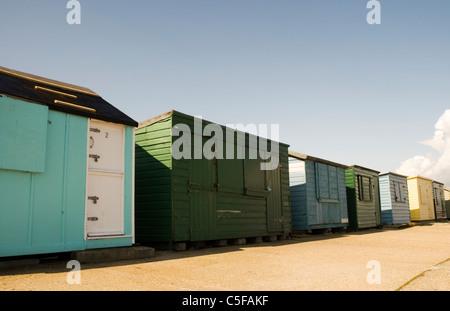 Beach huts at Saint Helens beach, Bembridge, Isle of Wight - Stock Photo