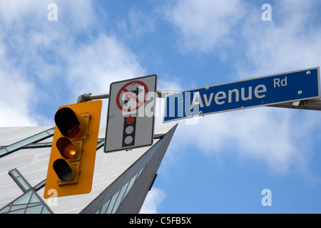traffic light signals and no right turn on red signs in avenue road downtown toronto ontario canada - Stock Photo