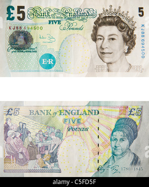 5 five pound note sterling - Stock Photo