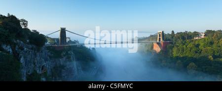 Morning mist in the Avon Gorge at Clifton Suspension Bridge. Bristol. England. UK. - Stock Photo