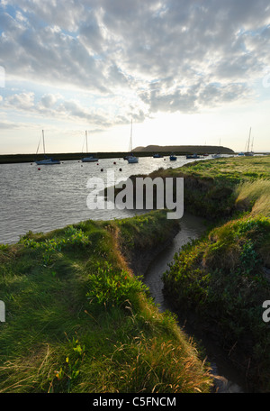 River Axe Estuary with Brean Down in the Distance. Near Uphill. Somerset. England. UK. - Stock Photo