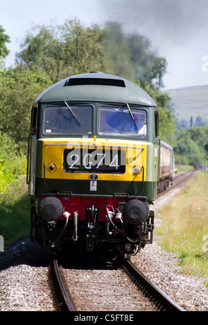 Yellow front-end of British Rail D1501 Diesel Locomotive East Lancs. Railway's Summer Diesel Gala on Sunday 3rd - Stock Photo