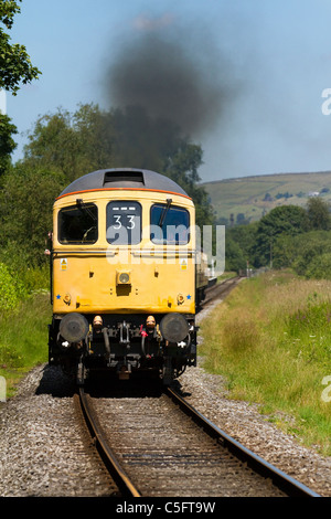 Yellow front-end of British Rail D6586 Diesel Locomotive East Lancs. Railway's Summer Diesel Gala on Sunday 3rd - Stock Photo