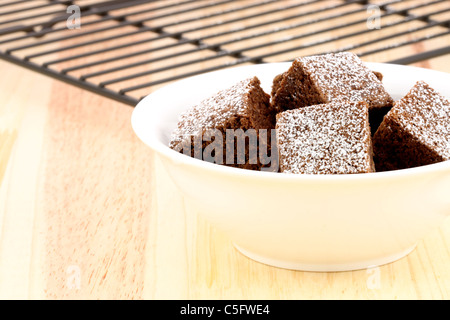 fresh wonderfully moist brownies with a deep fudgy chocolate flavor - Stock Photo