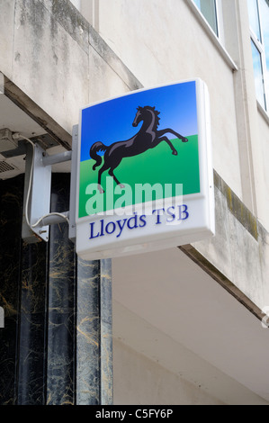 Lloyds TSB Sign Outside The Bank Branch On A High Street In Britain - Stock Photo